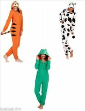 Ladies Mens Animal Onesie Adult Hooded Playsuit, Pyjamas cow, tiger,frog onesie