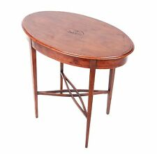 Antique Victorian Side Table Occasional Lamp Table Inlaid Mahogany Oval 19th Cen