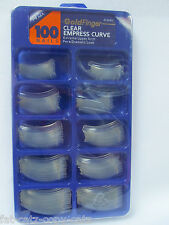 BOX OF 100 SALON QUALITY LONG DRAMATIC CURVED ARCHED CLEAR FALSE NAILS TIPS UK
