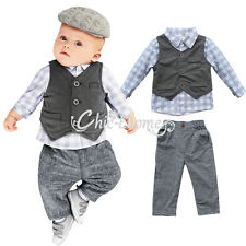 Gentleman Newborn baby boys Suit Waistcoat + Pants +Top Shirt Outfit clothes set
