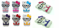 New 3D Cute Kitty Cartoon School Geek Nerd Glasses Phone Case For iPhone 5 5S UK