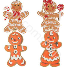 Gingerbread Man Mr & Mrs Christmas Hanging Tree Decoration Xmas Gift Tag Home