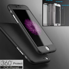 Hybrid 360° Hard Ultra thin Case + Tempered Glass Cover For iPhone