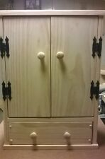 Handmade Wardrobe Cabinet with Drawer for 18 inch doll
