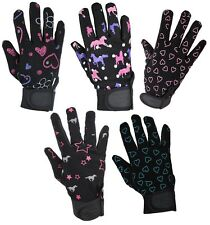 Childs Synthetic LEATHER Horse Riding Gloves **SPECIAL PRINT** ALL SIZES