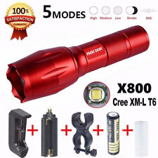 2000LM X800 Flashlight LED Zoomable Military Torch G700 with Battery Charger