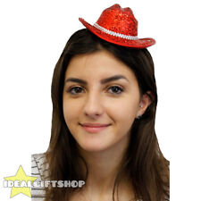 RED MINI SPARKLY COWBOY COWGIRL HAT FANCY DRESS TINY HAT ADULTS ACCESSORY