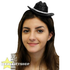 BLACK MINI SPARKLY COWBOY COWGIRL HAT FANCY DRESS TINY HAT ADULTS ACCESSORY