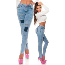 Sexy Jeans Hannah Skinny Acid Washed Con Strappi In Varie Taglie