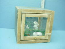 Dollhouse Miniature Bunny Rabbit Cage Handcrafted wi Two Rabbits 1/12th Scale