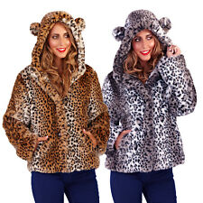 Womens Leopard Print Coat New Ladies Faux Fur Hooded Jacket With Animal Ears