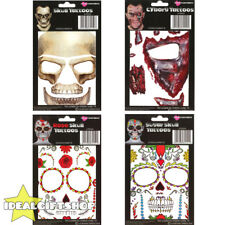 TEMPORARY FACE TATTOOS HALLOWEEN FANCY DRESS ADULTS SUGAR SKULL CYBORG MAKE UP