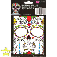SUGAR SKULL TEMPORARY FACE TATTOO HALLOWEEN FANCY DRESS ADULTS SPECIAL FX MAKEUP