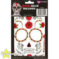 ROSE SKULL TEMPORARY FACE TATTOO HALLOWEEN FANCY DRESS ADULTS SPECIAL FX MAKE UP