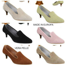 Scarpe Donna VERA PELLE Decolletè Traforati MADE in EUROPA Decoltè Tacco Medio