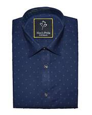 Blue Printed Dotted Casual Cotton shirt for Mens