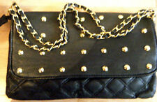 LADIES FAUX ARTIFICIAL LEATHER QUILTED STUDDED FLAP HANDBAG CLUTCH PURSE BAG