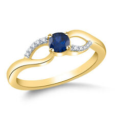 Blue Sapphire & Certified Real Diamond 18k Yellow Gold Plated 925 Silver Ring