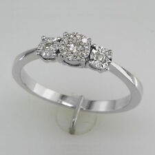 Marvellous Shiny Cubic Zirconia Solitaire Three Stone Ring 925 Sterling Silver
