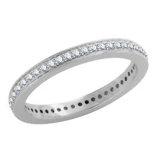 Round Cubic Zirconia Diamond 925 Sterling Silver Full Eternity Band Ring
