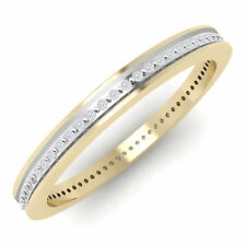 Solid 18K Pure Gold 100% Certified Real Natural Diamond Wedding Band Ring
