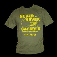 Crocodile Dundee NEVER NEVER SAFARI'S inspired Paul Hogan mens film t-shirt