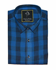 Blue Checked Casual Cotton Shirt for Mens