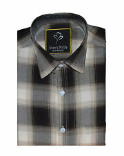 Black Checked casual cotton shirt for Mens