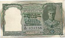 BRITISH INDIA RS 5. 2ND ISSUE OF KING GEORGE VI XF DESHMUKH FRONT PROFILE