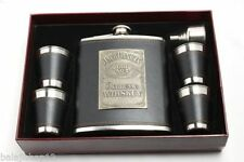 LEATHER WRAPPED STAINLESS STEEL HIP FLASK SET OF 6 PC