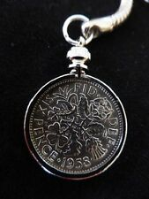 Lucky Sixpence Keyring 1947 - 1967 Birthday, Anniversary, Retirement. GIFT POUCH
