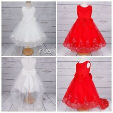 Flower Girls Lace Tulle Dresses Princess Formal Party Wedding Bridesmaid Gown