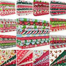 Fat Quarter Bundle CHRISTMAS FABRIC Red Green Silver Craft Polycotton Material