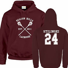 Lacrosse Di Beacon Hills FELPA CON CAPPUCCIO Bordeaux Stili Lupo 24 Teenager