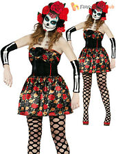 Ladies Day of the Dead Costumes Adults Sugar Skull Halloween Fancy Dress Outfit