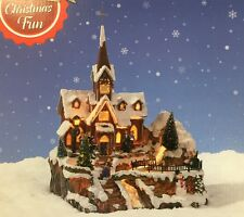 Christmas Decoration Traditional Church Chapel Village w Waterfall Carol Singers