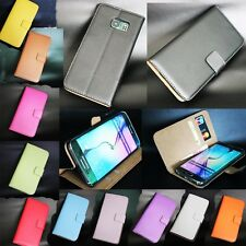 New Genuine Real Leather Flip Wallet Card Slot Stent Case Cover For HTC Models