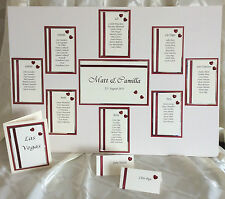 HANDCRAFTED WEDDING TABLE PLAN, TABLE NUMBERS & PLACE CARDS FOR 90 GUESTS HEART