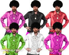 MENS 1970'S DISCO RUFFLE SHIRTS ADULTS FANCY DRESS COSTUME 70'S FRILLY TOP 1960S