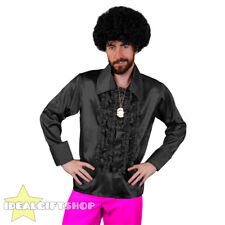 MENS BLACK 1970'S DISCO RUFFLE SHIRTS ADULTS FANCY DRESS COSTUME 70'S FRILLY TOP