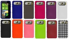 AMZER Silicone Skin Jelly Luxe Argyle TPU Gel Back Cover + xtra Case For HTC HD7