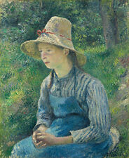 "Camille Pissarro: ""Peasant Girl with a Straw Hat"" (1881) — Giclee Fine Art Print"