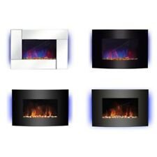 Wall Mounted Electric Fireplace Glass Heater Fire Remote Control LED Backlit New