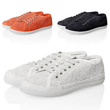 Only Women's Sneakers Trainers Lace Up Canvas Flat Low Casual Summer Sport NEW