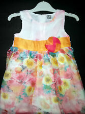 Pink Floral Designer Girls Frock Dress Pink Orange Flower Casual & Party wear