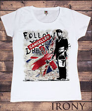 Donna T-Shirt bianca Bansky Follow Your Dreams Cancelled Graffiti Stampa TS168