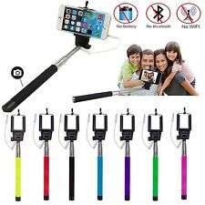 Extendable Handheld Wired Remote Shutter Selfie Stick Monopod For Mobile Phone