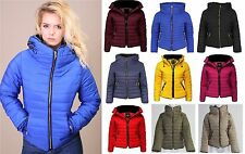 New Ladies Quilted Thick Lot Padded Coat Bubble Puffer Jacket Fur Collar
