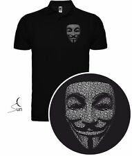 T-SHIRT POLO ANONYMOUS V PER VENDETTA WIKILEAKS CYBER HACK T-SHIRT SIL PL001p