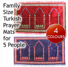 Family Size Turkish Prayer Mat / Rug for up to 5 people. Islamic Janamaz Muslim